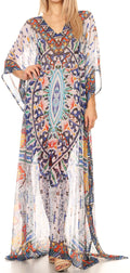 Sakkas Wilder  Printed Design Long Sheer Rhinestone Caftan Dress / Cover Up#color_17161-BlueOrgNavy