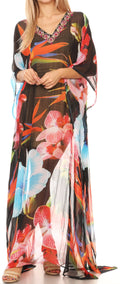 Sakkas Wilder  Printed Design Long Sheer Rhinestone Caftan Dress / Cover Up#color_17162-BlackMulti