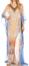 Sakkas Wilder  Printed Design Long Sheer Rhinestone Caftan Dress / Cover Up#color_17163-WhiteTurq