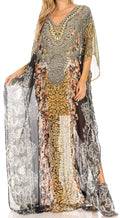 Sakkas Wilder  Printed Design Long Sheer Rhinestone Caftan Dress / Cover Up#color_orbk233-black