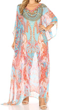 Sakkas Wilder  Printed Design Long Sheer Rhinestone Caftan Dress / Cover Up#color_ortu230-turq