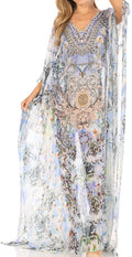 Sakkas Wilder  Printed Design Long Sheer Rhinestone Caftan Dress / Cover Up#color_orw234-white