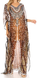 Sakkas Wilder  Printed Design Long Sheer Rhinestone Caftan Dress / Cover Up#color_sbr123-brown