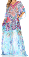 Sakkas Wilder  Printed Design Long Sheer Rhinestone Caftan Dress / Cover Up#color_sm224-multi
