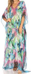 Sakkas Wilder  Printed Design Long Sheer Rhinestone Caftan Dress / Cover Up#color_tlg228-green