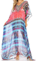 Sakkas Wilder  Printed Design Long Sheer Rhinestone Caftan Dress / Cover Up#color_um232-multi