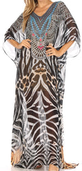 Sakkas Wilder  Printed Design Long Sheer Rhinestone Caftan Dress / Cover Up#color_zbk229-black