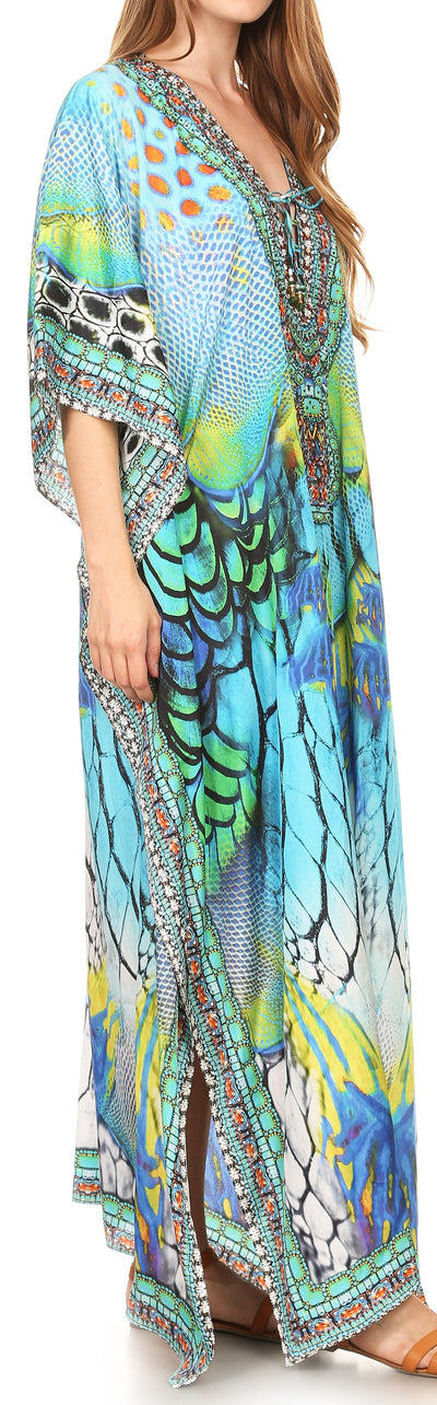 group-17193-TurquoiseMulti (Sakkas Georgettina Flowy Rhinestone V Neck Long Caftan Dress/Cover Up)