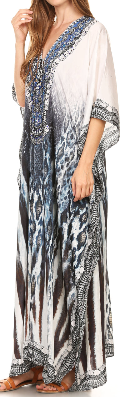 group-17194-BlueMulti (Sakkas Georgettina Flowy Rhinestone V Neck Long Caftan Dress/Cover Up)