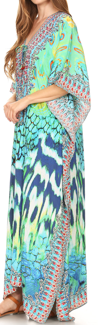 group-17195-GreenMulti (Sakkas Georgettina Flowy Rhinestone V Neck Long Caftan Dress/Cover Up)