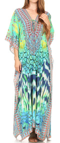 Sakkas  Georgettina Flowy  Rhinestone V Neck Long Caftan Dress / Cover Up#color_17195-GreenMulti