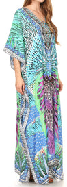 group-17196-TurquoiseMulti (Sakkas Georgettina Flowy Rhinestone V Neck Long Caftan Dress/Cover Up)