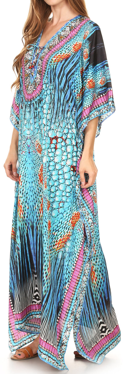 group-17197-TealMulti (Sakkas Georgettina Flowy Rhinestone V Neck Long Caftan Dress/Cover Up)