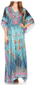 Sakkas  Georgettina Flowy  Rhinestone V Neck Long Caftan Dress / Cover Up#color_17197-TealMulti
