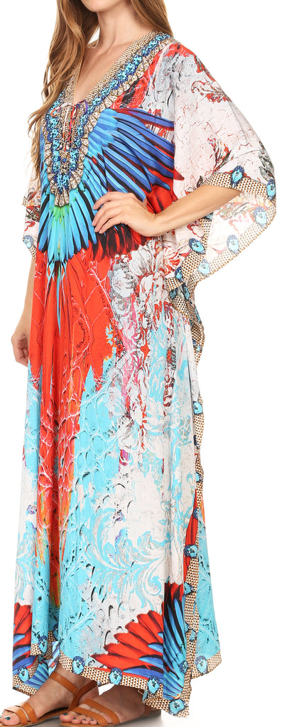 group-17198-Multi (Sakkas Georgettina Flowy Rhinestone V Neck Long Caftan Dress/Cover Up)