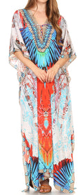Sakkas  Georgettina Flowy  Rhinestone V Neck Long Caftan Dress / Cover Up#color_17198-Multi
