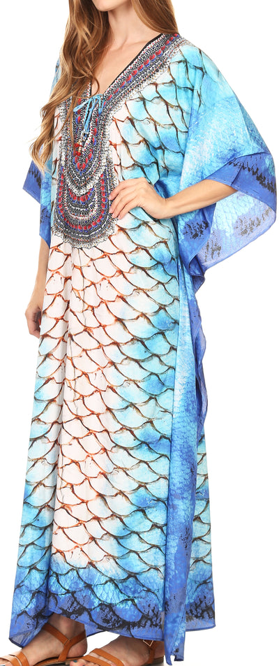 group-17199-WhiteMulti (Sakkas Georgettina Flowy Rhinestone V Neck Long Caftan Dress/Cover Up)