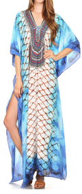 Sakkas  Georgettina Flowy  Rhinestone V Neck Long Caftan Dress / Cover Up#color_17199-WhiteMulti