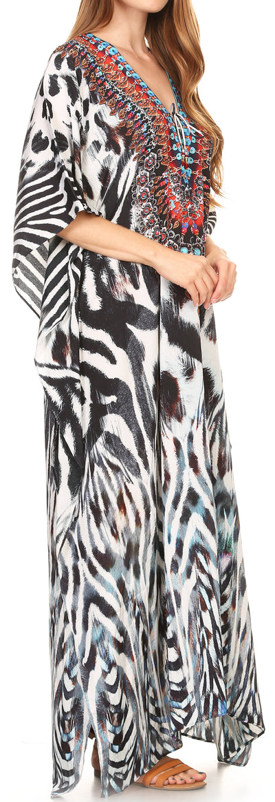 group-17200-Black / White (Sakkas Georgettina Flowy Rhinestone V Neck Long Caftan Dress/Cover Up)