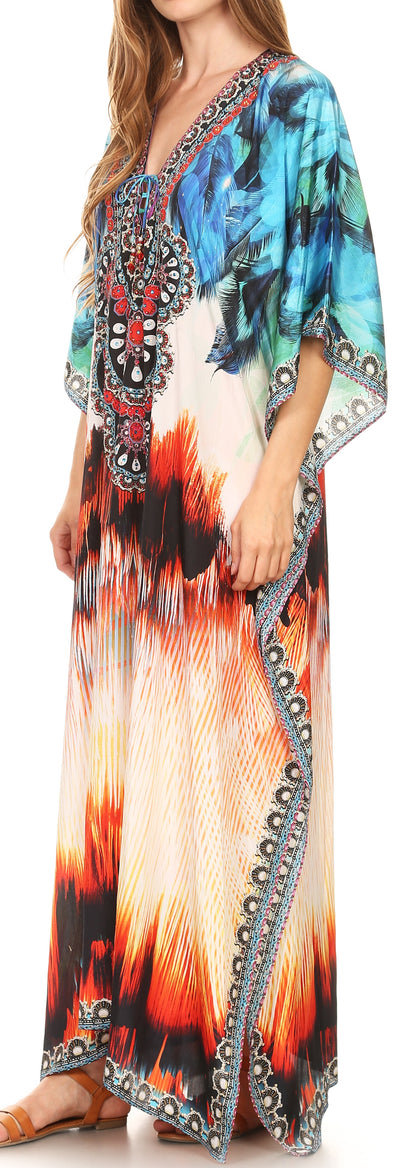 group-17201-BlueMulti (Sakkas Georgettina Flowy Rhinestone V Neck Long Caftan Dress/Cover Up)