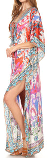 group-17202-Multi (Sakkas Georgettina Flowy Rhinestone V Neck Long Caftan Dress/Cover Up)