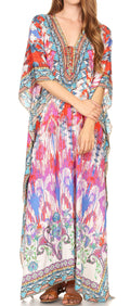 Sakkas  Georgettina Flowy  Rhinestone V Neck Long Caftan Dress / Cover Up#color_17202-Multi