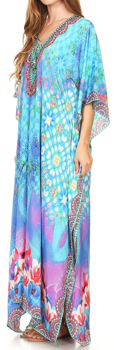 group-17203-TurquoiseMulti (Sakkas Georgettina Flowy Rhinestone V Neck Long Caftan Dress/Cover Up)