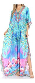 Sakkas  Georgettina Flowy  Rhinestone V Neck Long Caftan Dress / Cover Up#color_17203-TurquoiseMulti
