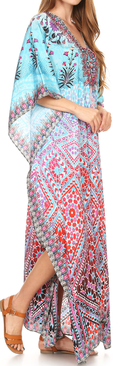 group-17204-TurquoiseMulti (Sakkas Georgettina Flowy Rhinestone V Neck Long Caftan Dress/Cover Up)