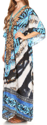 group-17205-TealMulti (Sakkas Georgettina Flowy Rhinestone V Neck Long Caftan Dress/Cover Up)