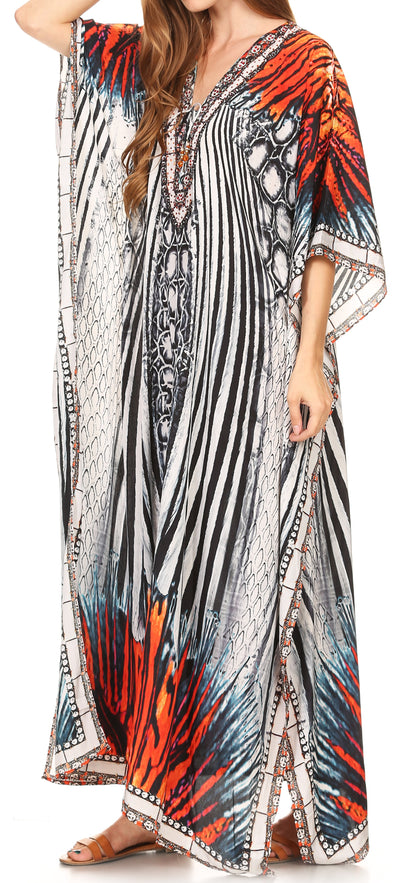 group-17206-WhiteMulti (Sakkas Georgettina Flowy Rhinestone V Neck Long Caftan Dress/Cover Up)