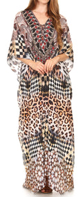 Sakkas  Georgettina Flowy  Rhinestone V Neck Long Caftan Dress / Cover Up#color_17207-BlackMulti