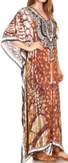 group-17208-BlackWhiteMulti (Sakkas Georgettina Flowy Rhinestone V Neck Long Caftan Dress/Cover Up)