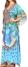 group-17209-TurquoiseMulti (Sakkas Georgettina Flowy Rhinestone V Neck Long Caftan Dress/Cover Up)