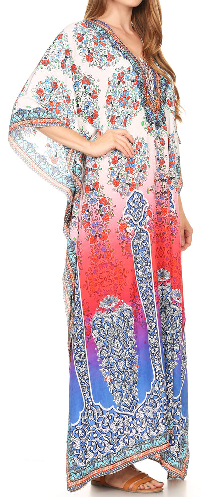 group-17210-WhiteMulti (Sakkas Georgettina Flowy Rhinestone V Neck Long Caftan Dress/Cover Up)
