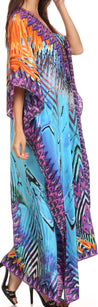group-Turquoise Purple / Multi (Sakkas Georgettina Flowy Rhinestone V Neck Long Caftan Dress/Cover Up)