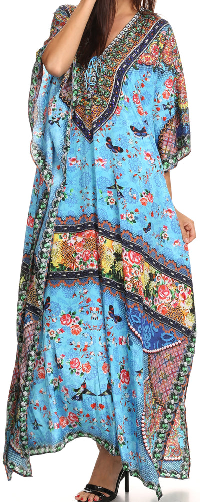 group-Turquoise Green / Multi (Sakkas Georgettina Flowy Rhinestone V Neck Long Caftan Dress/Cover Up)