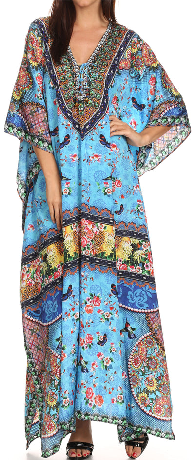 group-Turquoise Green / Multi (Sakkas  Georgettina Flowy  Rhinestone V Neck Long Caftan Dress / Cover Up)
