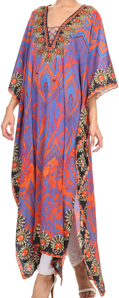 group-Purple Orange (Sakkas Georgettina Flowy Rhinestone V Neck Long Caftan Dress/Cover Up)