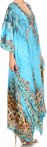 group-Turquoise Orange (Sakkas Georgettina Flowy Rhinestone V Neck Long Caftan Dress/Cover Up)