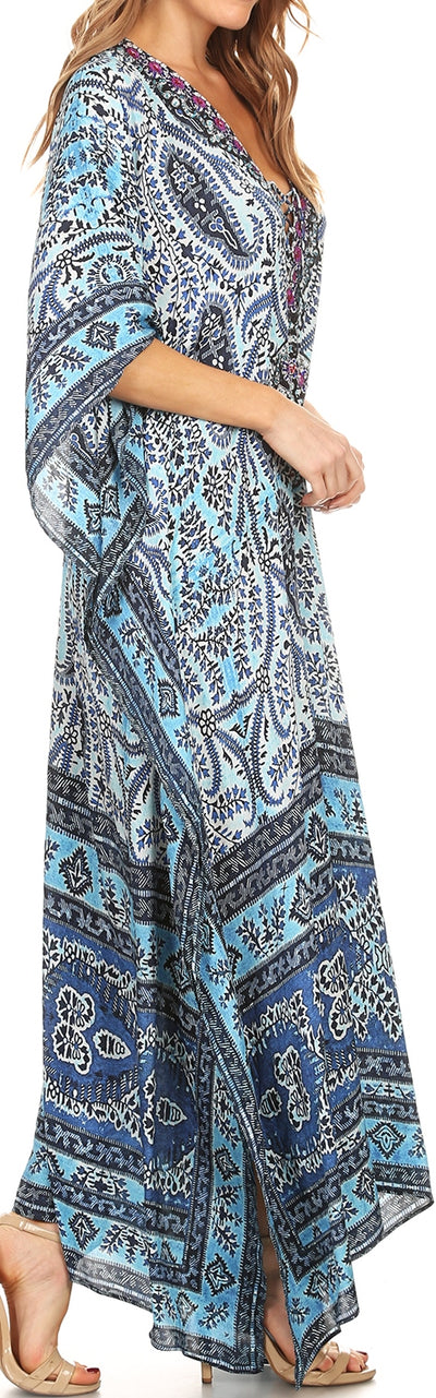 group-Navy Blue (Sakkas Georgettina Flowy Rhinestone V Neck Long Caftan Dress/Cover Up)