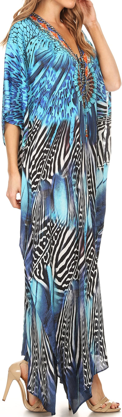 group-Black / Blue (Sakkas Georgettina Flowy Rhinestone V Neck Long Caftan Dress/Cover Up)