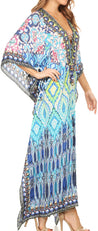 group-Black / Turquoise (Sakkas Georgettina Flowy Rhinestone V Neck Long Caftan Dress/Cover Up)