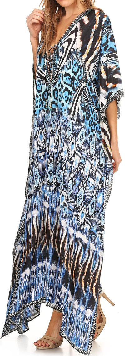group-Black / White / Turq (Sakkas Georgettina Flowy Rhinestone V Neck Long Caftan Dress/Cover Up)