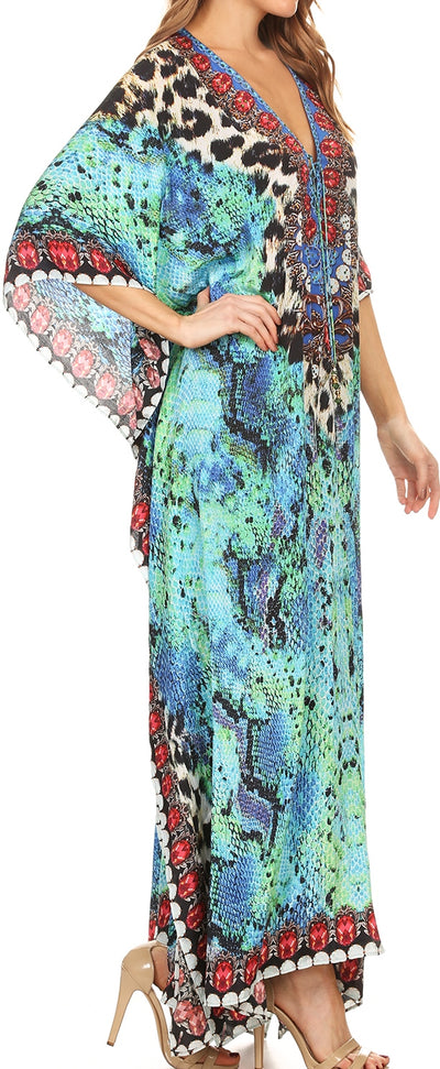 group-Turquosie / Black (Sakkas Georgettina Flowy Rhinestone V Neck Long Caftan Dress/Cover Up)