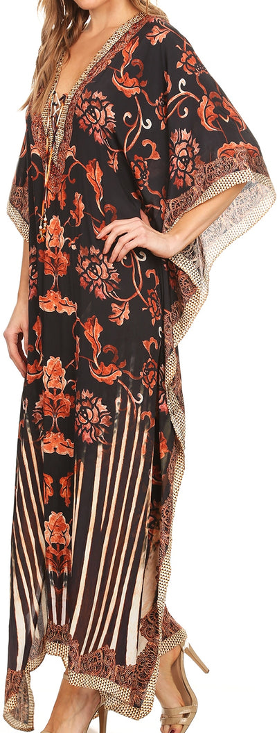group-Black / White (Sakkas Georgettina Flowy Rhinestone V Neck Long Caftan Dress/Cover Up)