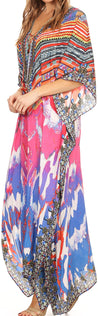 group-Pink / Orange (Sakkas Georgettina Flowy Rhinestone V Neck Long Caftan Dress/Cover Up)