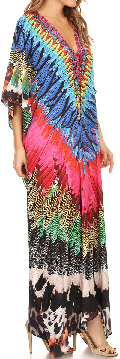 group-Pink / Black (Sakkas Georgettina Flowy Rhinestone V Neck Long Caftan Dress/Cover Up)