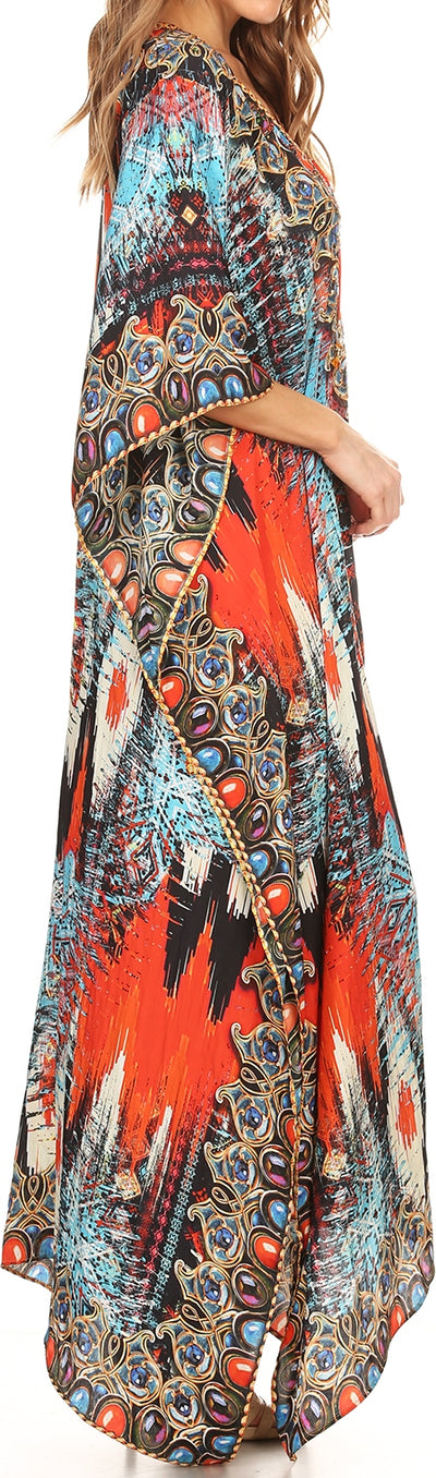 group-Red / White / Blue (Sakkas Georgettina Flowy Rhinestone V Neck Long Caftan Dress/Cover Up)
