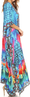 group-Blue / Pink (Sakkas Georgettina Flowy Rhinestone V Neck Long Caftan Dress/Cover Up)